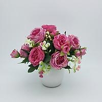 Bình hoa lụa, hoa giả trang trí phòng khách, để bàn, bình hoa hồng ba tư