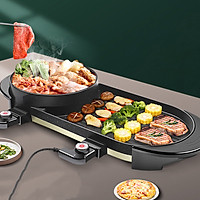 Bếp lẩu nướng kép 2 trong 1 đa năng mặt nướng chống dính không khói cao cấp