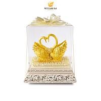 Tượng đôi chim thiên nga dát vàng(19x29x35cm)- Hàng chính hãng, trang trí nhà cửa, phòng làm việc, quà tặng sếp, đối tác, khách hàng, tân gia, khai trương