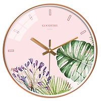 Đồng hồ treo tường tròn Goodtime nền hồng lá cây nhiệt đới