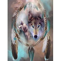 Bimkole 5D Diamond Painting Wolf Dream Catcher Full Drill DIY Rhinestone Pasted with Diamond Set Arts Craft Decorations (12x16inch)