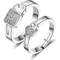 Cặp nhẫn bạc Khóa tình yêu pha lê