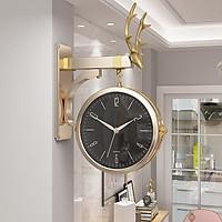 Đồng hồ treo tường trang trí họa tiết đầu hươu sang trọng