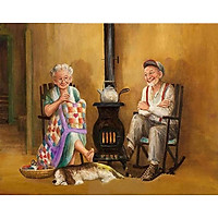 Bimkole 5D Diamond Painting Stove Old Couple Full Drill DIY Rhinestone Pasted with Diamond Set Arts Craft Decorations (12x16inch)