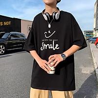 Áo Thun Smile nam nữ đều mặc được, chất cotton cổ tròn, Áo phông tay lỡ mát dịu unisex