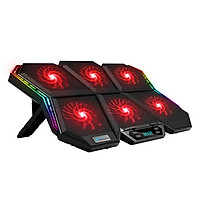 COOLCOLD K40 RGB Laptop Cooler 6-fan Cooling Stand Mute Design with Adjustable Wind Speed Stand Height Colorful Light