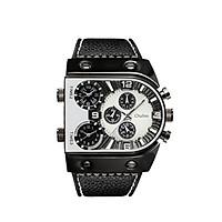 Đồng hồ thạch anh đeo tay dây da mặt số lớn kiểu dáng sang trọng OULM Men Three Time Zones Leather Band Quartz Watch