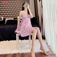 VINGO Váy Ngủ Hai Dây Lụa Pháp Mặc Nhà Nữ Họa Tiết Kẹo Dâu Chữ I Love You Ngọt Ngào Quyến Rũ VG113 VNGO