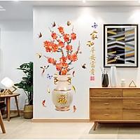 Decal dán tường bình hoa mai đỏ (60 x 90 cm)