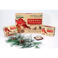 COMBO Mua Tinh dầu thông đỏ Hoàng Gia Royal Korean Red Pine 120 viên tặng Nước hồng sâm nguyên chất 100% Daedong Korea Ginseng 30 gói