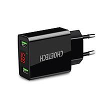 Cóc củ sạc nhanh 2 cổng USB Type A hiệu CHOETECH C0028 hỗ trợ sạc nhanh 5V-2.2A/Port trang bịchip sạc thông minh, đèn LED báo điện áp - Hàng chính hãng