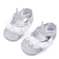 Giày tập đi công chúa lấp lánh đính vương miện phối ren đế chống trơn trượt cho bé gái 0-18 tháng tuổi – TD23