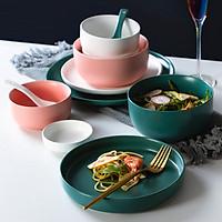 Bộ bát đĩa / tô chén dĩa/ gốm sứ cao cấp 4 món ( Chén, tô, dĩa, đũa) màu pastel