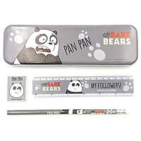 Bộ Dụng Cụ Học Sinh Và Hộp Bút Moshi 019 - Mẫu 3 - Gấu Trúc - Màu Xám