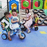 Xe đạp xích lô cho bé yên bọc da cao cấp 2 chỗ ngồi