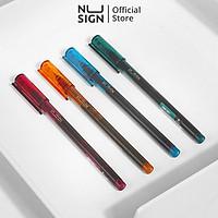 Bút gel nắp đậy cao cấp Nusign - Bút bi nước - mực đen - Ngòi 0.5mm full ống mực - Xanh dương/Xanh lá/Vàng/Tím - 1 chiếc - NS766