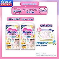 Combo 2 Tã/bỉm quần Merries size XL - 38 miếng (Cho bé 12 - 22kg)