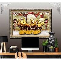 Bức tranh ngựa treo tường bát mã - MÃ ĐÁO THÀNH CÔNG chất liệu in vải lụa hoặc giấy ảnh bóng gương Mã số:L8F-00401545L8