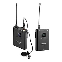 K&F CONCEPT M-9 UHF Wireless Microphone System with Transmitter Receiver Lapel Lavalier Mic 80M Effective Range for DSLR