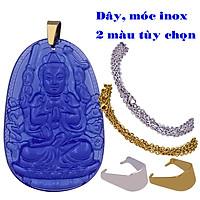 Vòng cổ mặt Phật tuổi Tý - Dây inox Thiên thủ thiên nhãn pha lê xanh dương VINFLXDB7 - Size phù hợp cho nam và nữ