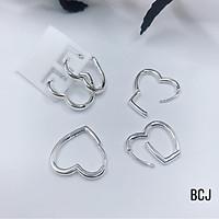 Bông tai trái tim chất liệu bạc Ý MS45b