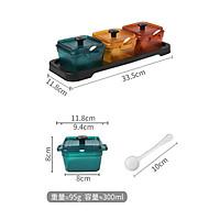Bộ 3 Hũ Đựng Gia Vị Dầu Ăn, Đường, Muối Bằng Nhựa Kèm Thìa & Khay Tiện Lợi Cho Bếp - ( 300ml x 3 ) - 12 x 33.5cm