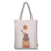 Túi tote thời trang Covi in hình cô gái và hoa hướng dương vải mộc canvas