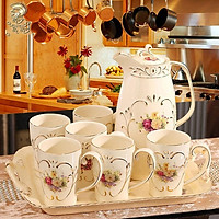 Bộ ấm trà cổ điển 8 chi tiết (gồm khay, tách trà và 6 cốc)