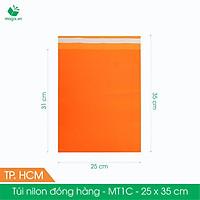 MT1C - 25x35 cm - Túi nilon gói hàng - 300 túi niêm phong đóng hàng màu cam