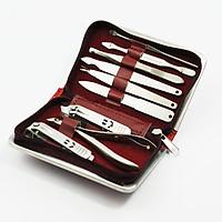 Bộ kềm chăm sóc móng 9 món chuyên dụng cắt tỉa cá nhân, làm nail, cắt móng tay kèm hộp đựng bằng da cao câos
