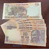 Tiền giấy hình con cọp của Ấn Độ 10 Rupees, tặng kèm bao nilong bảo quản