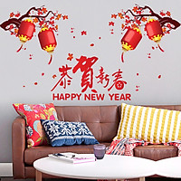 Decal dán tường Lồng đèn tết Happy new year - HP81