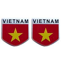 Combo 2 Sticker kim loại hình cờ Việt Nam (5cm x 5cm)