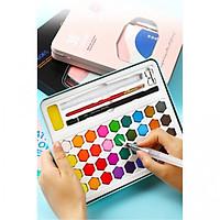 Bộ 36 Màu Nước Keep Smiling Cao Cấp Kèm Bút Nước, Bút Lông, Bút Chì, Gọt Chì, Miếng Mút ( Màu Xanh)