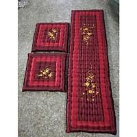 Bộ thảm ghế múi cao cấp mẫu hoa mai hoa đào (bộ 1 thảm dài 2 thảm ngắn)