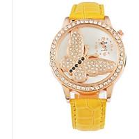 Female Watch Wrist Watch Quartz Watch Rhinestone Butterfly Dial Unique Colorful