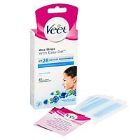 Tẩy lông mặt ria mép VEET Wax Strips 40 Miếng (Bill Anh) - Da Nhạy Cảm