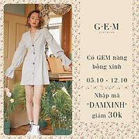 Đầm xanh nút gỗ Gipopo dress Gem clothing SP060406
