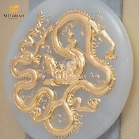 Tranh Đĩa ngọc Rồng thời Lý dát vàng 24k (40x40cm) MT Gold Art- Hàng chính hãng, trang trí nhà cửa, phòng làm việc, quà tặng sếp, đối tác, khách hàng, tân gia, khai trương