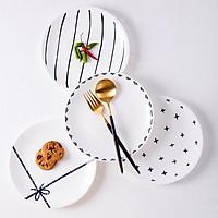 Đĩa sứ họa tiết trang trí bàn ăn decor - đĩa sứ trắng 15cm