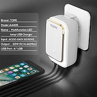 Củ sạc TOPK B413 4 cổng USB, củ sạc có đèn LED cho iPhone, Samsung, Xiaomi, Huawei - Hàng nhập khẩu