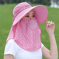 Mũ Nón Chống Nắng Kèm Khẩu Trang Che Mặt Thiết Kế Thông Minh Chống Tia UV 99% - UPF 50+ Màu Hồng Freesize