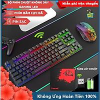 Bộ Bàn Phím Và Chuột Không Dây Gaming Có Đèn Led Pin Sạc XSmart T87 Tặng Kèm Lót Game, Combo Cho Máy Tính - Hàng Chính Hãng