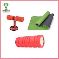Combo 3 Sản Phẩm Tập Yoga - YOGA QG: 1 Thảm Tập Yoga 2 Lớp 6mm (Tặng kèm túi đựng) + 1 Con Lăn Massage Tập Yoga 33cm x 14cm + 1 Dụng Cụ Tập Bụng Chữ T