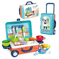 Bộ đồ chơi nhà bếp nấu ăn KAVY kèm vali kéo tiện lợi nhựa nguyên sinh an toàn, chi tiết sinh động, màu sắc trực quan