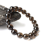 Vòng tay phong thủy đá thạch anh khói 8 ly đá tự nhiên màu đen có kiểm định chất lượng hợp mệnh kim mệnh thủy
