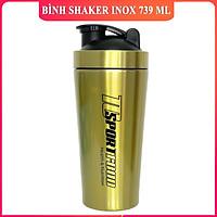 Bình lắc Shaker bằng INOX pha sữa cho người tập GYM hiệu TCSPORTFOOD - Bình nước thể thao Shaker 739 ml - Màu vàng nắp đen