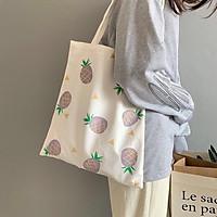 Túi tote vải canvas đeo chéo phom to rộng có khoá kéo ngăn phụ đựng vừa cỡ a4 giá học sinh