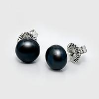 Bông tai ngọc trai màu đen  Freshwater 5-6mm hình Bán cầu, chất liệu Bạc cao cấp xuất khẩu châu Âu Hoàng Gia Pearl E1001S0F33B127002K000