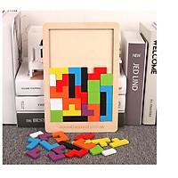 Đồ Chơi Xếp Gạch Bằng Gỗ Montessori - Bảng Xếp Hình Bằng Gỗ Tetris Cao Cấp đầy màu sắc cho bé học tập và vui chơi